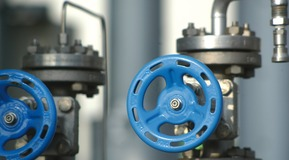 Valves close up, CO2 liquefaction plant Marl/Germany.